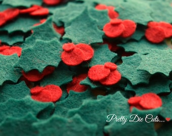 Felt Holly, Green Holly Leaves with Red Berries, Holly Leaf, Christmas Felt Shapes, Pretty Die Cut Christmas Craft Embellishments