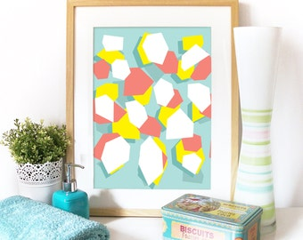 Abstract poster geometric random shapes colorful print joy happy print abstract art print poster yellow salmon white bluen poster art print