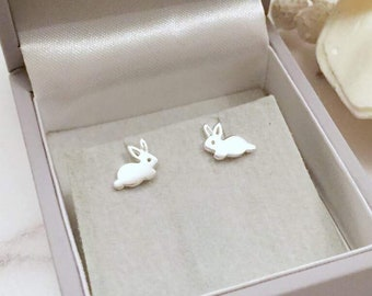 Rabbit gift lovers, Rabbit earrings, rabbit earrings sterling, bunny earrings silver, animal stud earrings, rabbit jewelry, modern earrings