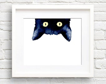 Sneaky Black Cat - Art Print - Wall Decor - Watercolor Painting