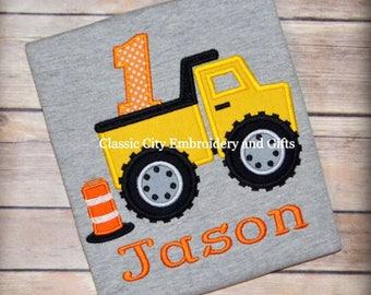 Boy birthday shirt, boy birthday outfit, boys tshirt, construction birthday shirt, dump truck birthday outfit, first birthday shirt