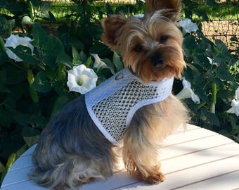 Small Dog Harness, Breathable white mesh, Made in USA, dog harnesses, pet clothing, wedding dog harness
