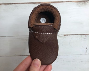 Chocolate Brown Fringe Moccasins | Chocolate Brown Bow Moccasins