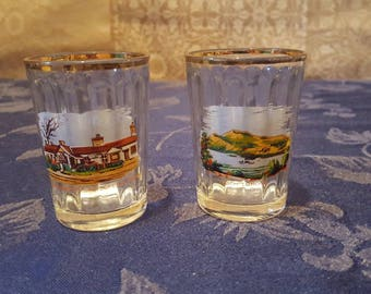 Two Vintage Scotland Souvenir Shot Glasses With Scenes of Loch Lomond  and Gretna Green