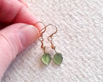 Green Glass Leaves and Gold-Filled Wire-Wrapped Earrings