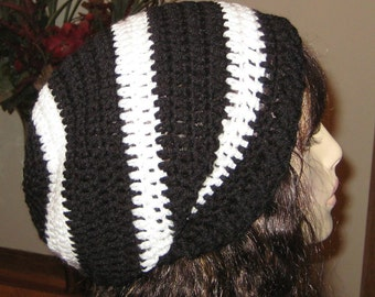 Slouchy Beanie Dread Tam Black and White Crochet Hat