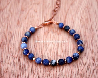 Sodalite Bracelet - Sodalite And Copper Bracelet - Natural Blue Gemstone Bracelet - Adjustable Bracelet - Beaded Bracelet - Two Feathers
