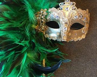 Masquerade mask- Green Mask -Rhinestone Mask- Mardi Gras Mask- Carnival mask- feather mask- Mask on a stick