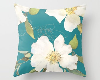 Floral Pillow - Teal Throw Pillow - Accent Flower Pillow - Vintage Flower Pillow - Flower Pillow Cover with insert - Floral Decor