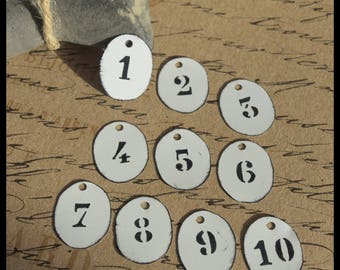10 labels oval metal with print number 3 hole x 2,5cm