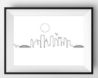 Pittsburgh Skyline, Pittsburgh art, Pittsburgh print, Pittsburgh poster, Pittsburgh, Pittsburgh artwork, Pittsburgh illustration, nursery