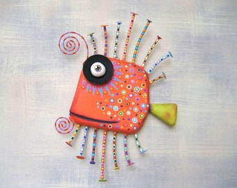 Orange Guppy, MADE to ORDER, Original Found Object Wall Sculpture, Wood Carving, Fish Wall Art, Marine Art, by Fig Jam Studio