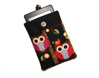 Owl Kindle Cover, Kindle Paperwhite Case, Owl Kobo Aura Case, Kindle Voyage Sleeve, Nook Glowlight 3 Sleeve, Kindle Oasis 2017 Case, Black