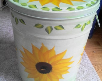 5 Gallon Hand Painted Galvanized Trash Can