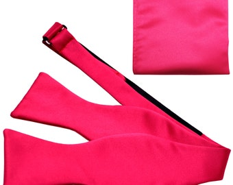 New Men's Solid Hot Pink Self-Tie Bowtie and Handkerchief, for Formal Occasions