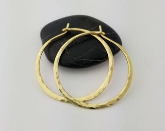 18k Extra Thick Hammered Hoops, 16 Gauge, Solid 18k Gold Hoops, Thick Gold Hoops, Hammered Gold Hoop Earrings, 18k Hoops, Mothers Day Gift