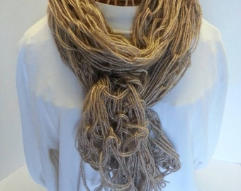 Metallic gold arm knitted scarf