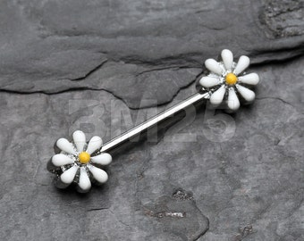 A Pair of Spring Blossom Flower Nipple Barbell Ring