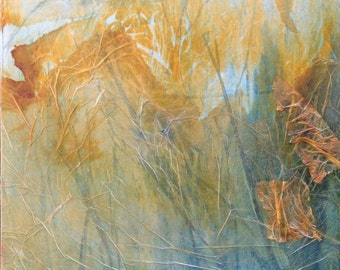 """Original painting ink and collage on canvas, abstract landscape, contemporary art. """"Autumn"""" abstract art in orange and blue"""