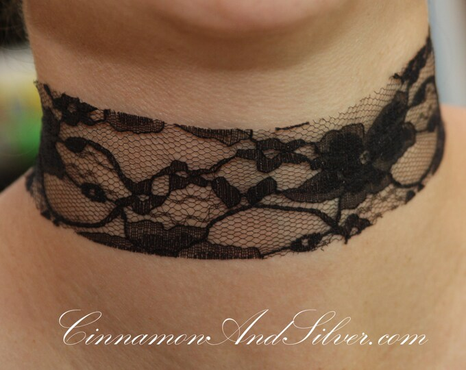 Black Lace Romantic Ribbon Choker Necklace, Black Victorian Lace Choker, Black Holiday Ribbon Choker, Black Steampunk Lace Ribbon Necklace