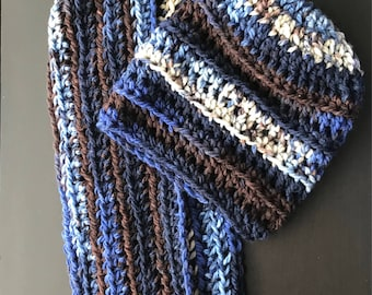 Ripple crochet hat and scarf