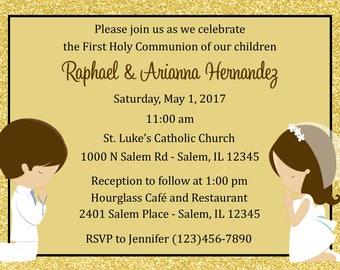 First Communion Invitation - Twins  (Digital File) - Gold Glitter First Communion Invitation - Silver Twins First Communion Invitation
