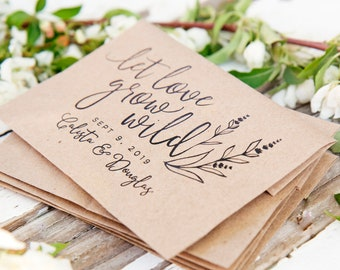 Let Love Grow Wild - Personalized Wedding Favor Bag with Seeds INCLUDED - Lavender and Wildflower Large Seed Favor - 30 Packets or more