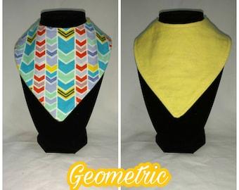 FREE SHIPPING - Reversible bandana bib - geometric