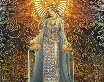 The Star Tarot Art Goddess of Hope Original Acrylic Painting Psychedelic Bohemian Mythology