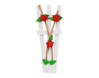 Red Rose Trellis on White Picket Fence - Miniature Dollhouse Fairy Garden