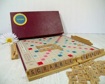 Scrabble Game Selchow & Righter Co. Vintage Early Wooden Letter Tiles, Scrabble Board and Racks for Repurposing Shabby Well Used Condition