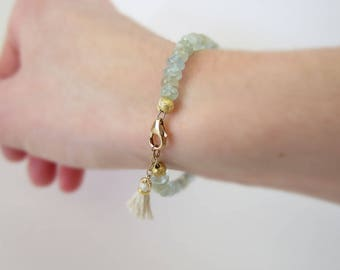 Aquamarine bracelet, beaded gemstone bracelet, March birthstone, pale blue bracelet, tassel bracelet, boho bracelet, gemstone jewelry, gold