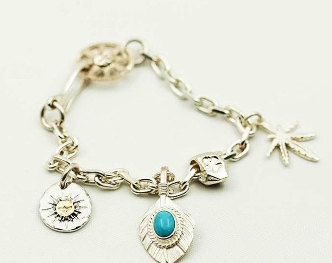 Turquoise Charm Bracelet | Tribal Silver Charm | Boho Bracelet | Gold Charm Bracelet | Flying Bird Charm | Bohemian Silver Feather Charm