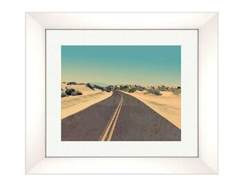 Beach Road Mountain Print, Abstract Landscape Print, Mid Century Modern, Modern Abstract Art, Landscape Wall Art- Sand, Nautical