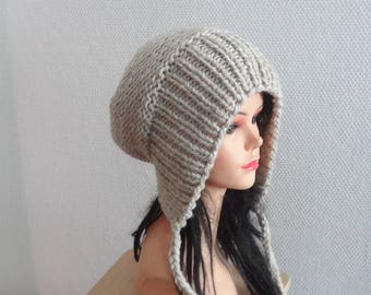 Slouchy Ear Flap Hat gray slouchy hat Knitted slouchy beanie Womens oatmeal hat Split Brim Slouchy Beanie Women Accessories gray Winter Hat