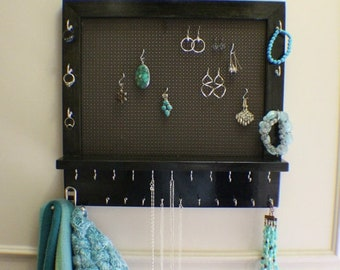 ON SALE Ebony Stained Wall Mounted Jewelry Organizer, Wall Organizer, Jewelry Display Necklace Holder Earring Organizer