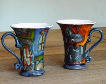 Set of Two Coffee Mugs, Colorful Pottery Mugs with Unique Hand Painted Decoration, Ceramic Mugs, Tea Mugs, Unique Clay Mugs, Danko Pottery
