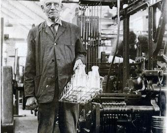 vintage photo 1919 MAchine Shop Man Brings out Bottles for Milkman