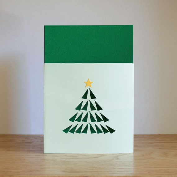 Paper Cut Christmas Tree Card
