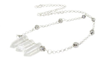 Bergkristall, 3 Natur klar Kristall Punkte, Silber Zinn Edelsteinhalskette