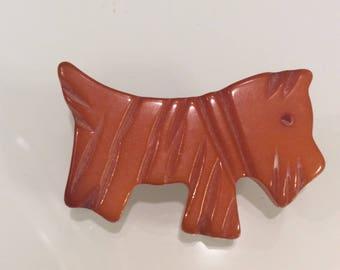 Vintage Bakelite Carved Scottie Dog Brooch Pin