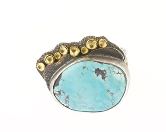 Lichen Blue Moon Turquoise Ring Sterling Silver 18K Gold Recycled Metal Natural American Turquoise
