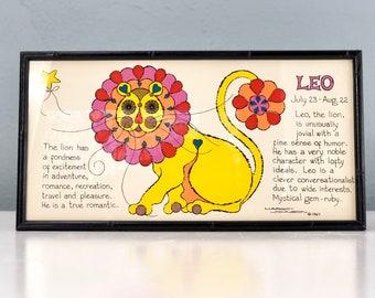 Leo Zodiac Sign Wall Art, 1960s Home Decor