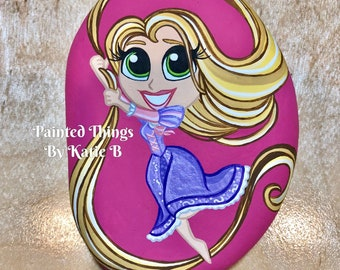 Disney Chibi Princess Rapunzel Tangled Hand Painted Stone Rock Art