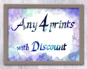 Set of any 4, Make your own set, Choose your prints, Print set with discount, Poster set, Custom set, set of 4, art set poster pack