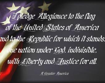 "Our Pledge of Allegiance in Steel 12"" x 18"""