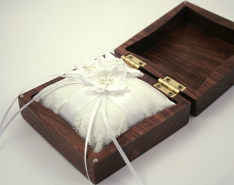 Walnut wood wedding ring box with ring pillow. Custom engraved wedding ring box.