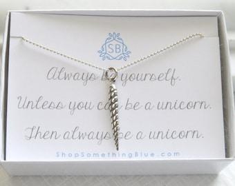 Einhorn Horn Halskette • Einhorn Horn Charme • Einhorn Liebhaber • magische Horn • inspirierend Geschenk • beste Freund Geschenk • Einhorn Schmuck