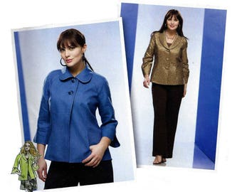 Women's Sewing Pattern, Jacket with Round or Shawl Collar, Plus Size 18, 20, 22, 24 Bust 40, 42, 44, 46 Uncut Simplicity 2899