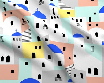 Greek Fabric - Santorini Architecture By Tuppencehapenny - Greek Isles Houses Greece Cotton Fabric By The Yard With Spoonflower